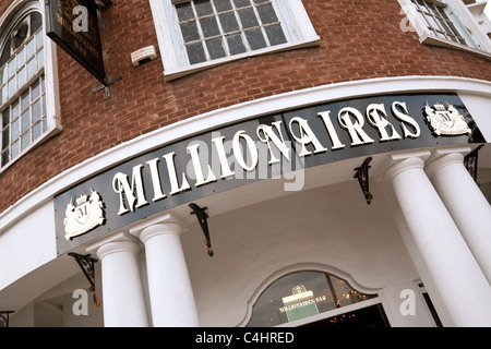 Millionaires club sign, Newmarket Suffolk UK - Stock Photo