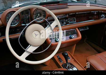 A dashboard of an old Mercedes car - Stock Photo