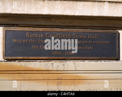 Time capsule plaque on the wall of the town hall King Edward's Square Sutton Coldfield West Midlands UK - Stock Photo