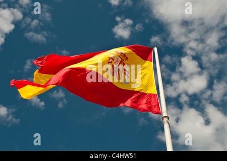 Spanish flag, Plaza de Colon, Madrid, Spain - Stock Photo