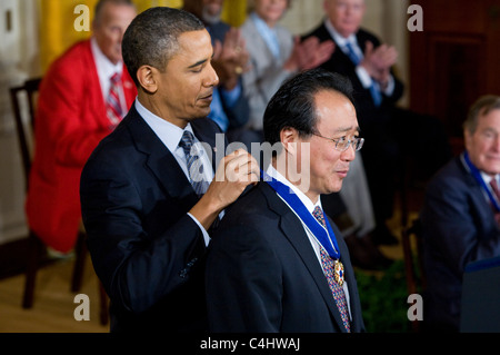 President Barack Obama presents the Presidential Medal of Freedom to Yo-Yo Ma. - Stock Photo