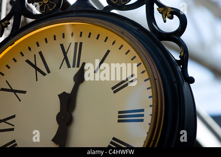 A close up of a large clock face - Stock Photo