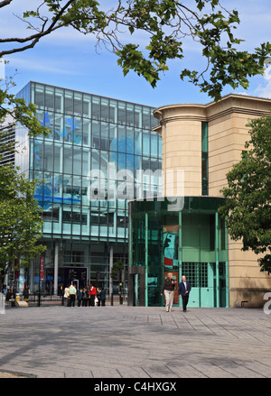 Entrance to the Laing art gallery with the public library in the background, Newcastle upon Tyne, England UK - Stock Photo