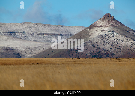 Snow Capped Mountain in Mountain Zebra National Park, South Africa - Stock Photo