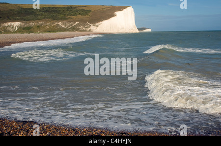 Chalk cliffs of the Seven Sisters from Cuckmere Haven beach, East Sussex, England - Stock Photo