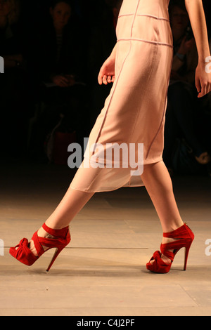 Shot from the front row of Emilio de la Morena's catwalk show, London Fashion Week, Somerset House, London 22 February - Stock Photo