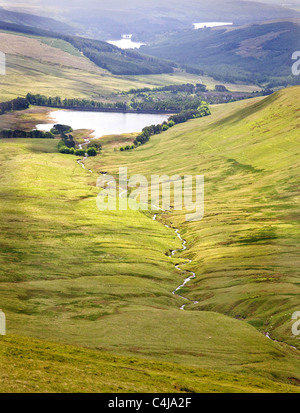 View from the slopes of Pen y Fan in the Brecon Beacons over the reservoirs of Upper Neuadd , Pentwyn and Pontsticill