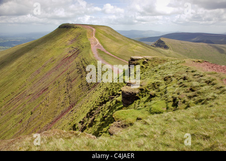Summit platform of Pen y Fan and Cribyn from Corn Du in the Brecon Beacons South Wales - Stock Photo