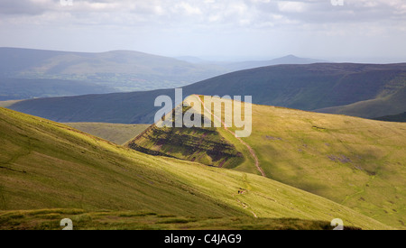 Cribyn from the slopes of Pen y Fan in the Brecon Beacons South Wales - Stock Photo