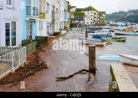 High spring tide threatens property on the Back Beach Teignmouth south Devon UK - Stock Photo