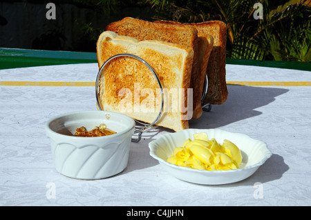 Toast with butter and marmalade, Costa del Sol, Andalucia, Spain, Western Europe. - Stock Photo
