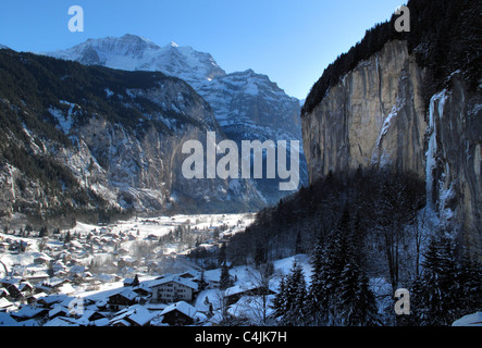 View Down the Lauterbrunnen Valley towards the jungfrau in the winter, Switzerland - Stock Photo