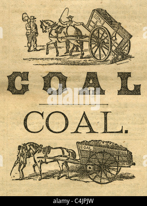 Two 1874 horse & cart coal engravings from the Daily Whig & Courier, Bangor, Maine. - Stock Photo