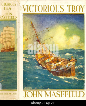 Dust jacket for Victorious Troy by John Masefield designed by artist Kenneth Shoesmith - Stock Photo