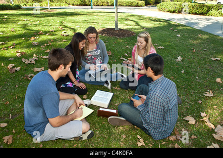 Multi ethnic racial racially Ethnically diverse discussion group teens study together using iPad mobile phone iPhone devices. MR © Myrleen Pearson