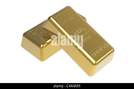 Gold bullions isolated on white 3d render - Stock Photo