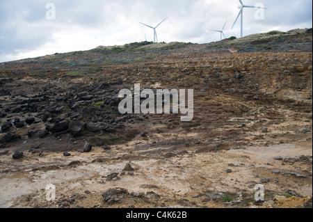 volcanic intrusion limestone rock over ancient basalt lava flow - Stock Photo