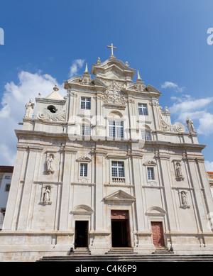 New, white cathedral Sé Nova Catedral de Coimbra, Portugal - Stock Photo