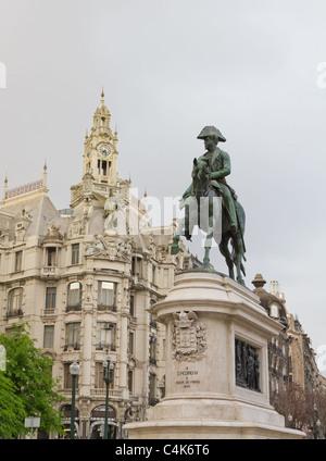 Statue on Porto main street Avenidas dos Alidaos of king Dom Pedro IV, Oporto, Portugal - Stock Photo