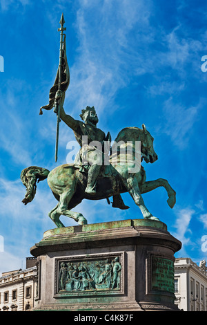 Statue of Godfrey of Bouillon, lived from 1060 to 1100, in front of the royal palace in Brussels, Belgium, Europe - Stock Photo