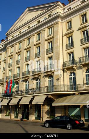 Four Seasons Hotel des Bergues, Geneva, Switzerland - Stock Photo