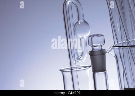 laboratory glass in shades of blue monochromatic - Stock Photo