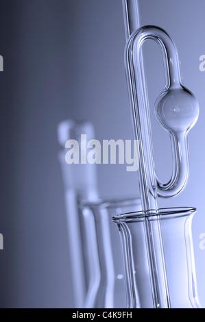 computer laboratory glass in shades of blue monochromatic - Stock Photo