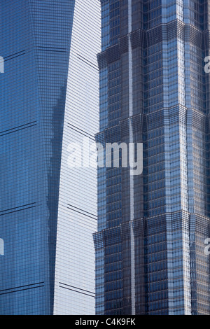 Detail of the fancy modern high rise facades of Shanghai World Financial Center and Jin Mao Tower, Shanghai, China - Stock Photo