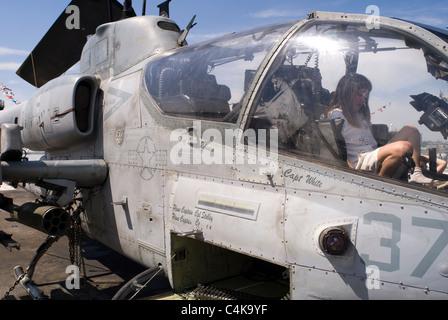 United States Navy Bell AH-1W Super Cobra helicopter gunship on flight deck of USS Iwo Jima Wasp-class amphibious - Stock Photo