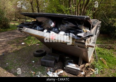 over full rubbish skip in countryside location - Stock Photo