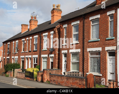 Terraced houses in Arnold, Nottingham, England, U.K. - Stock Photo
