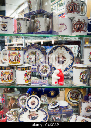 Shop selling souvenirs of the Prince William and Kate Middleton wedding,London,England - Stock Photo