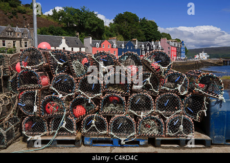 Lobster pots on the pier at Tobermory on the Isle of Mull, Inner Hebrides. - Stock Photo