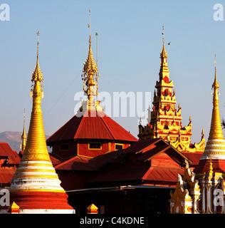 Buddhist temple roof ,Myanmar - Stock Photo