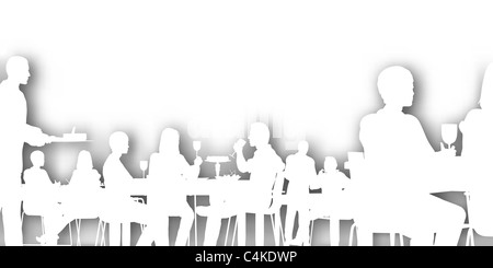Restaurant Background With People illustrated silhouette of people eating in a restaurant stock