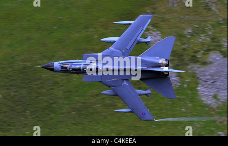 Low Fly, Tornado RAF, day or night, all-weather attack aircraft. Flying through the valleys Wales. - Stock Photo