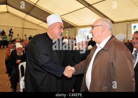 Sheikh Taupic Tarif, Druse leader (Left) and Reuven 'Rubi' Rivlin Speaker of the Knesset - Stock Photo