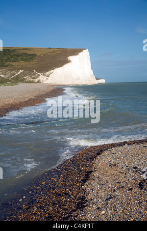 Chalk cliffs of the Seven Sisters from Seaford Head, East Sussex, England - Stock Photo
