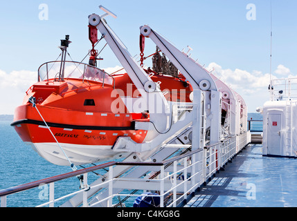 Lifeboats on board a cross channel ferry, France, Europe - Stock Photo
