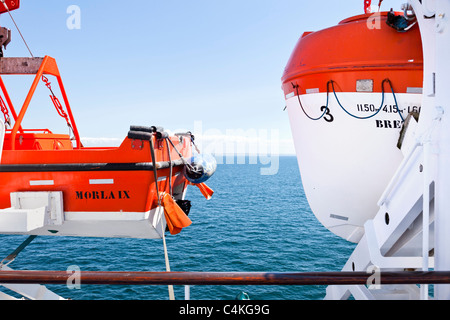 Lifeboats on board a cross channel ferry France Europe - Stock Photo