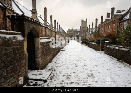 Vicars' Close in Wells, Somerset, after a snow storm. - Stock Photo