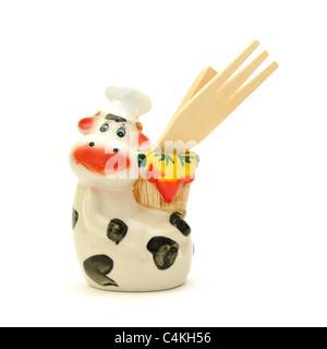A cow chef, kitchen utensil holder - Stock Photo