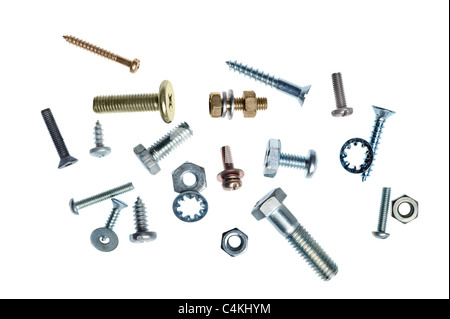 An assortment of nuts and bolts on a white background - Stock Photo