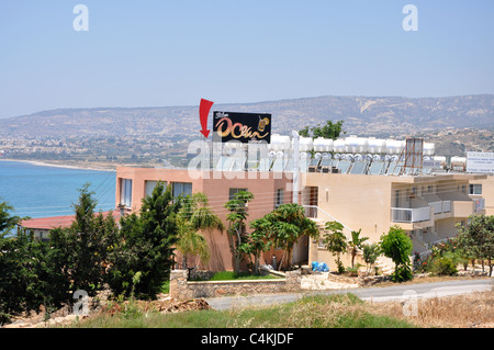 Solar panels on roof in Cyprus near Limassol - Stock Photo