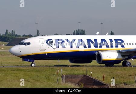 Ryanair Boeing 737 aircraft taxiing at Birmingham Airport, UK - Stock Photo