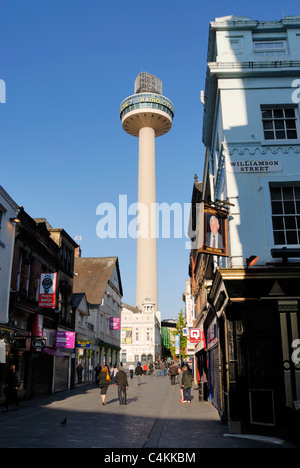 St. Johns Beacon in Williamson Square in Liverpool, home to Radio City and the Playhouse theatre below. - Stock Photo