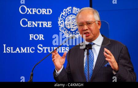 OXFORD - MAY 16: Prime Minister of Malaysia, Dato' Sri Mohd Najib Tun Razak delivering a talk at the University - Stock Photo