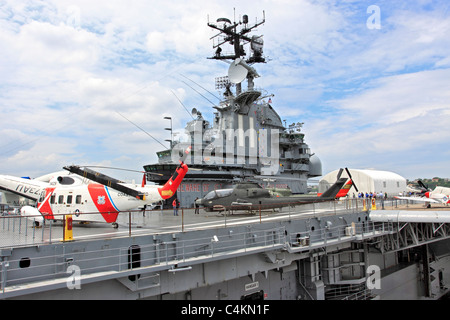 Flight deck of the USS Intrepid Aircraft Carrier Sea Air and Space Museum on the Hudson River Manhattan New York - Stock Photo