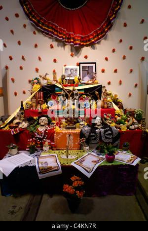 Decorated Mexican Day of the Dead or Dia de los Muertos altar