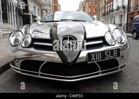 MERCEDES SLR,viewed here with chromed livery and low level frontal aspect,the McLaren built sports-car exudes quality. - Stock Photo